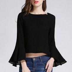 Isadora - Boatneck Flared Long-Sleeve T-Shirt