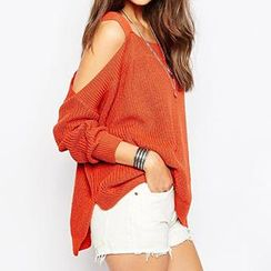 Eloqueen - Cutout-Shoulder Knit Top