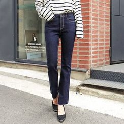 Seoul Fashion - Fray-Hem Stitched Straight-Cut Jeans