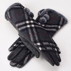 RGLT Scarves - Pompom-Accent Plaid Gloves