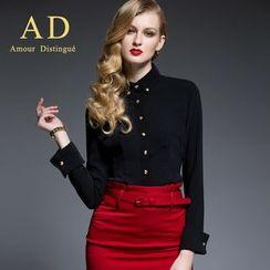 Aision - Long-Sleeve Shirt / Pencil Skirt