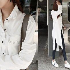 NIPONJJUYA - Flap-Pocket Dip-Back Cotton Shirtdress