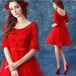 Angel Bridal - Embellished Elbow Sleeve Mini Prom Dress