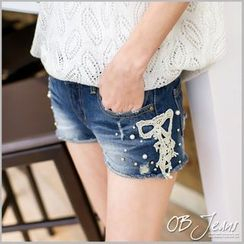OrangeBear - Lace Pearl Distressed Denim Shorts