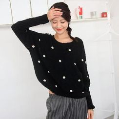 59 Seconds - Dolman-Sleeved Polka Dot Bouclé Sweater