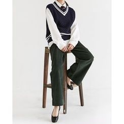 Someday, if - Sleeveless Contrast-Trim Cable-Knit Top