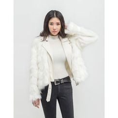GUMZZI - Faux-Fur Faux-Leather Jacket