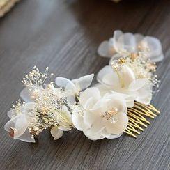 Ashmi - Bridal Set: Flower Hair Comb + Hair Clips