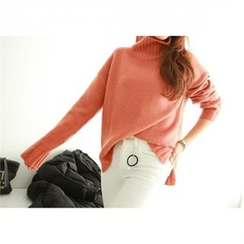 PEPER - Turtle-Neck Drop-Shoulder Knit Top