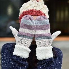 Amandier - Striped Cable Knit Panel Gloves