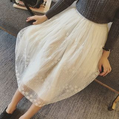 Colorful Shop - Lace Midi Skirt
