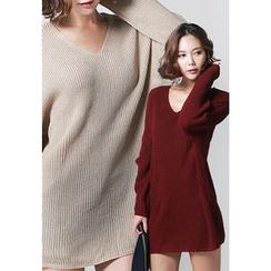 REDOPIN - V-Neck Knit Mini Dress