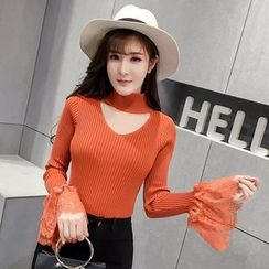 Honeydew - Cut Out Front Lace Trim Long Sleeve Knit Top