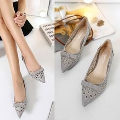 Monde - Perforated Bow Pointed Flats