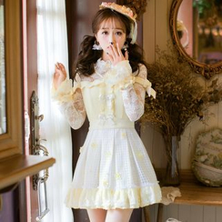 Candy Rain - Long-Sleeve Lace Ruffle Trim A-line Dress
