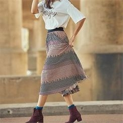 MAGJAY - Banded-Waist Patterned Skirt