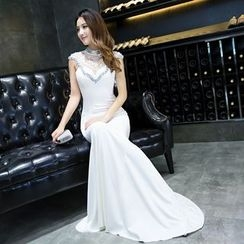 Posh Bride - Sleeveless Lace Panel Mermaid Evening Gown
