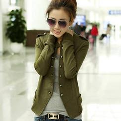 PUFII - Mandarin-Collar Buttoned Jacket