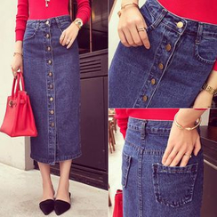 Windflower - Denim Pencil Skirt