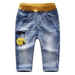 Endymion - 童装猫头鹰图案束腰牛仔裤