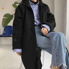 Cloud Nine - Notch Lapel Long Woolen Coat