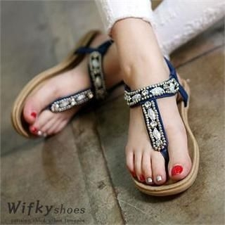 Wifky - Beaded Thong Sandals