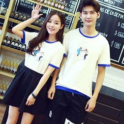 Tabula Rasa - Couple Matching Piped T-shirt / Skirt / Shorts