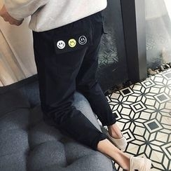 JORZ - Smiley Embroidered Drop Crotch Pants