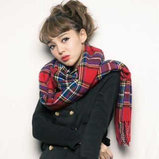 CUTIE FASHION - Fringed-Trim Plaid Scarf