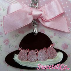 Sweet & Co. - Sweet Pink Ribbon Swarovski Crystal Strawberry Choco Hat Necklace