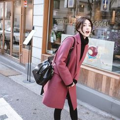 mimi&didi - Hidden-Button Wool Blend Coat