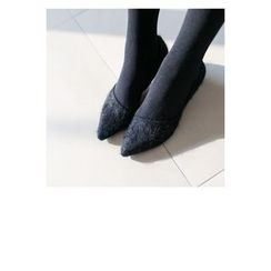 WITH IPUN - Pointy-Toe Angora Wool Blend Kitten Heel Pumps