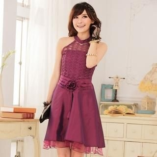 JK2 - Corsage-Accent Lace Halter Cocktail Dress