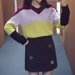 Ashlee - Color Block V-Neck Sweater