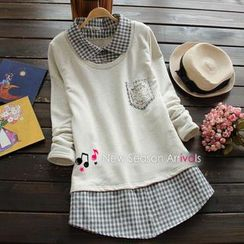 Flower Idea - Inset Gingham Shirt Lace-Pocket Top