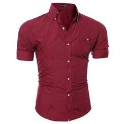 Hansel - Short-Sleeve Plain Shirt
