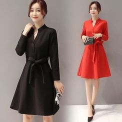 EFO - Long-Sleeve Tie-Waist A-Line Dress