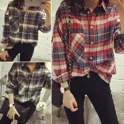 QZ Lady - Boxy Plaid Shirt