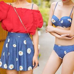 Sewwi - 套装: 碎花比基尼泳装 + 泳裙 + 露肩短袖上衣