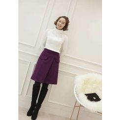 Lemite - Wool Blend Wrap Skirt
