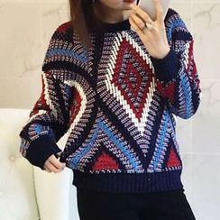 Fashion Street - Patterned Chunky Knit Sweater