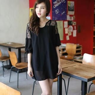Mini Jule - Short-Sleeve Panel Tulle Tunic