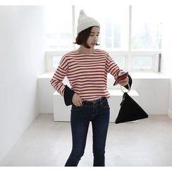 Miamasvin - Contrast-Cuff Striped T-Shirt
