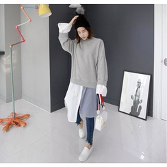 Miamasvin - Inset Sweatshirt Striped-Panel Shirtdress
