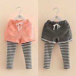 Seashells Kids - Kids Inset Short Striped Leggings