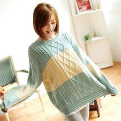 Tokyo Fashion - Color-Block Cable-Knit Sweater