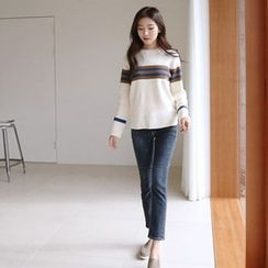 Hello sweety - Round-Neck Contrast-Trim Sweater