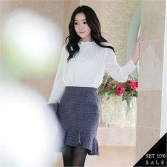 COCOAVENUE - Set: Shirred-Detail Chiffon Top + Ruffle-Hem Check Pencil Skirt