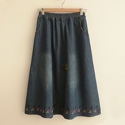 Angel Love - Embroidered Midi Denim Skirt