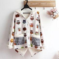 akigogo - Owl Print Hooded Fleece Lined Jacket